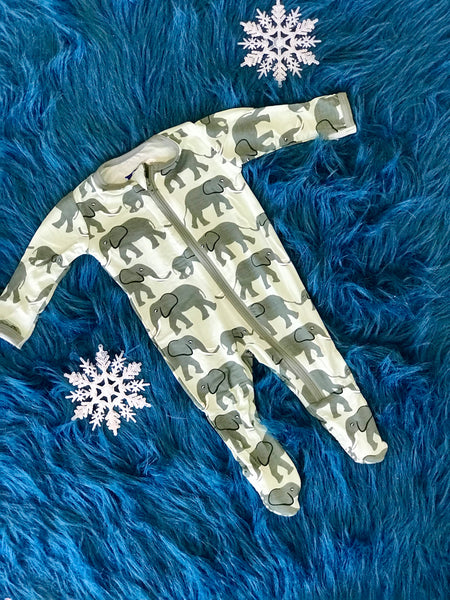 2018 Fall Kickee Pants Aloe Elephants Footie With Zipper - JEN'S KIDS BOUTIQUE