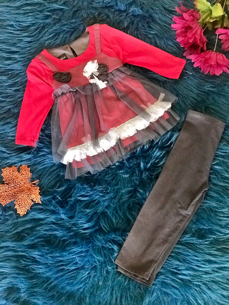 Isobella And Chloe Red and Gray Netting Pant Set CL - JEN'S KIDS BOUTIQUE