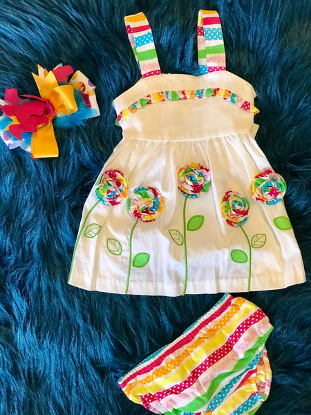 Spring Fun Adorable Multi Flower Dress Set - JEN'S KIDS BOUTIQUE