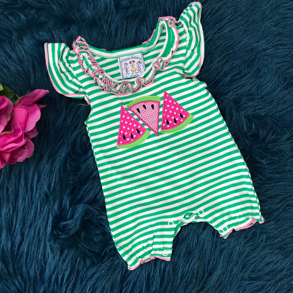 Spring Three Sisters Stripped Watermelon Infant Romper - JEN'S KIDS BOUTIQUE