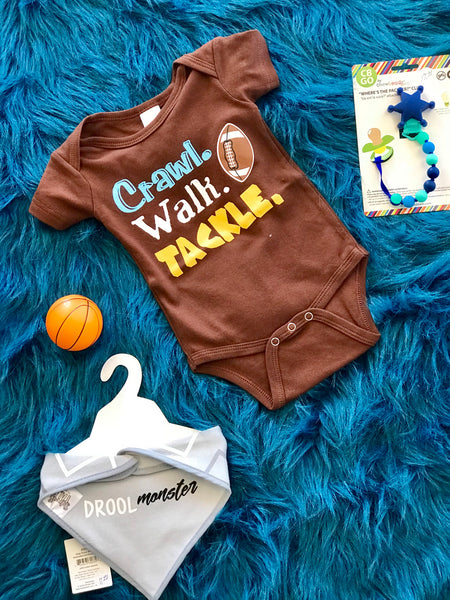 Spring Boys Onesie Crawl Walk Tackle - JEN'S KIDS BOUTIQUE