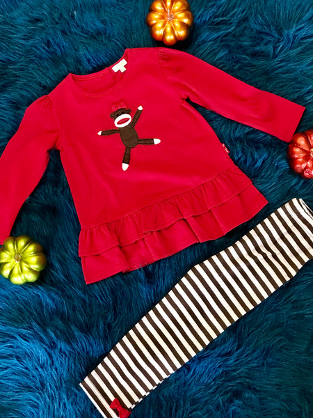 Fall Fun Red Monkey With Stripped Pants - JEN'S KIDS BOUTIQUE