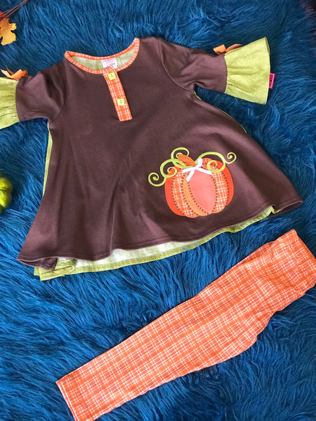 Pumpkin Kisses Harvest Wishes Truck Fall Ruffle Pant Set  3 or 4 Years