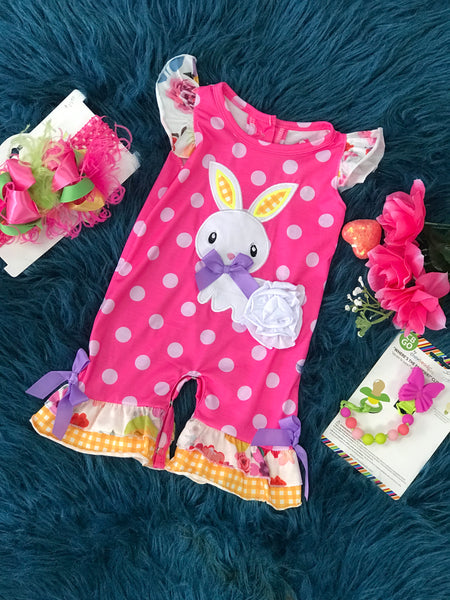 Spring Hippity Hoppity Hot Pink Bunny Easter Romper - JEN'S KIDS BOUTIQUE