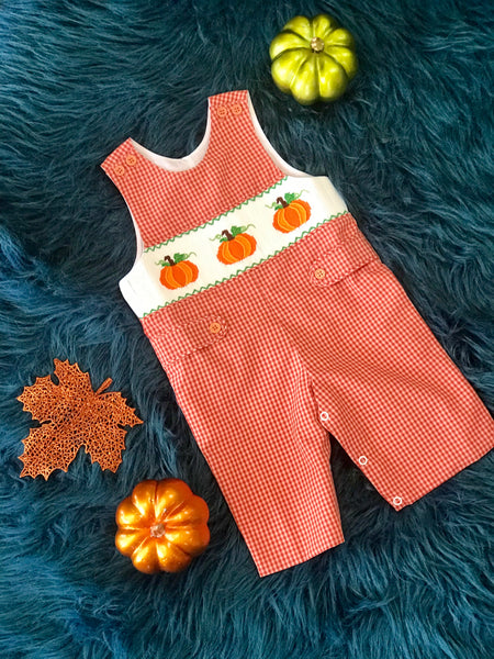 Fall Boys Orange Pumpkin Smocked Long All - JEN'S KIDS BOUTIQUE