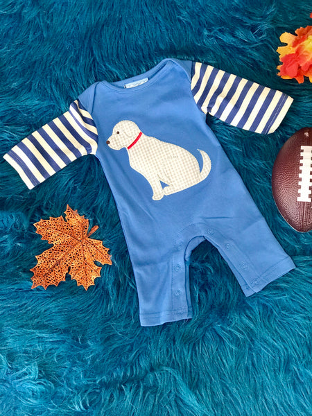 New Fall Three Sisters Boys Puppy Applique Knit Romper - JEN'S KIDS BOUTIQUE