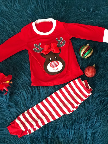 New Christmas Rudolph Red Nose Reindeer With Bow Pajamas C - JEN'S KIDS BOUTIQUE