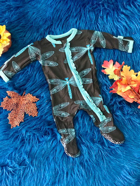 New Fall Kickee Pants Muffin Ruffle Zipper Footie (Giant Dragon Fly) - JEN'S KIDS BOUTIQUE