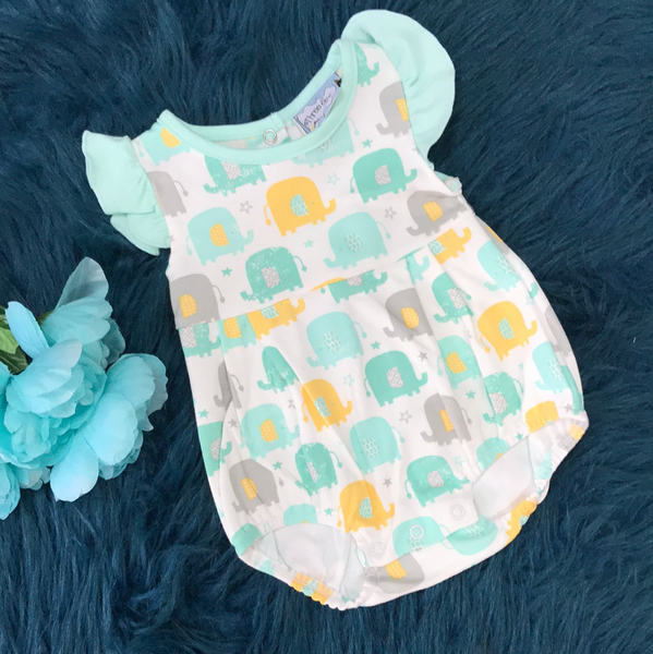 Spring Three Sisters Teal & Yellow Elephant Bubble Romper - JEN'S KIDS BOUTIQUE