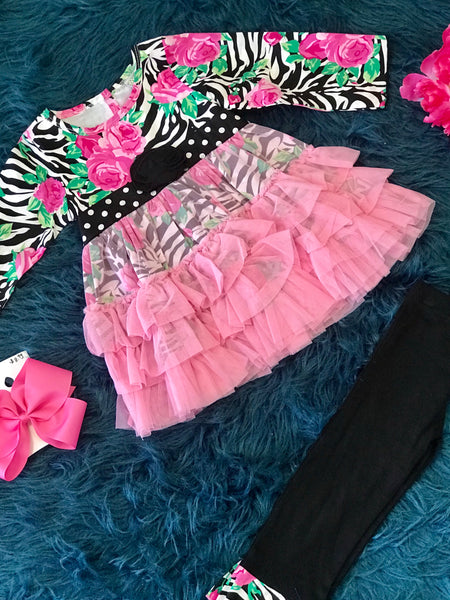 Fall Ann Loren Black & Pink Zebra TuTu Ruffle Pant Set - JEN'S KIDS BOUTIQUE