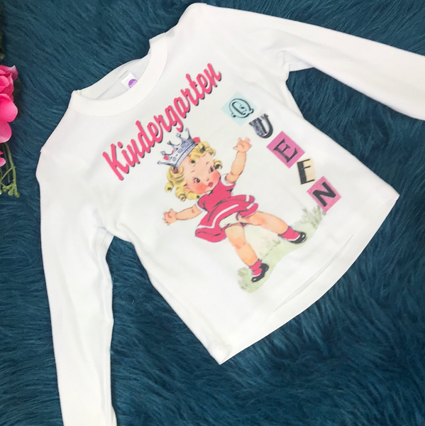 Vintage Lucy's Kindergarten Queen White Long Sleeve Shirt - JEN'S KIDS BOUTIQUE