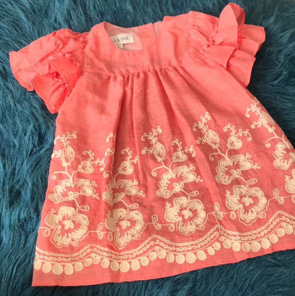 Spring & Summer Isobella & Chloe Coral Woven Ruffle Sleeve Dress - JEN'S KIDS BOUTIQUE