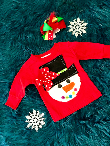 I'm Yours Button Girls Snowman Christmas Shirt - JEN'S KIDS BOUTIQUE