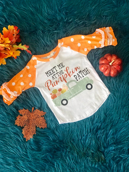 Fall Meet Me At The Pumpkin Patch Ruffle Sleeve Shirt - JEN'S KIDS BOUTIQUE