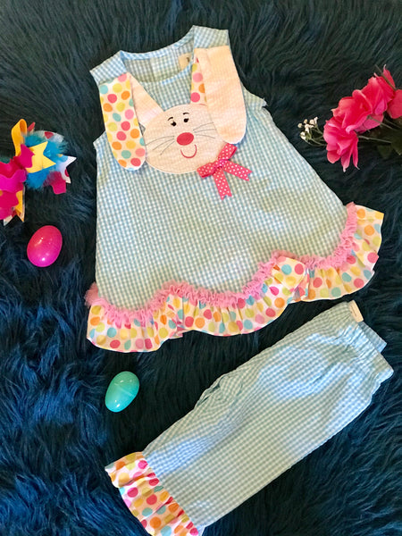 Spring Easter Seersucker Polka Dot Ears Bunny Face Capri Pant Set - JEN'S KIDS BOUTIQUE