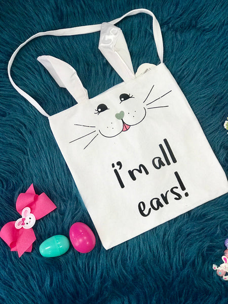 2019 Spring Easter I Am All Ears Easter Bunny Bag With Ears - JEN'S KIDS BOUTIQUE