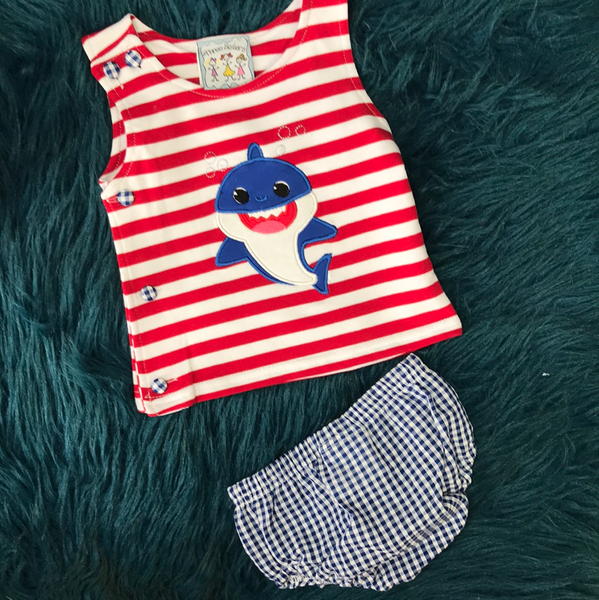 Spring Three Sisters Red & White Stripped Baby Shark Tank w/ Bloomers - JEN'S KIDS BOUTIQUE