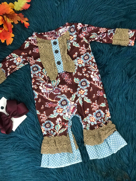 New Fall Girls Multi Floral Ruffle Romper C - JEN'S KIDS BOUTIQUE