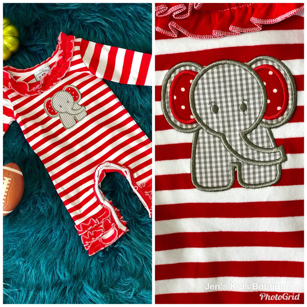 2018 Fall Three Sisters Fall Girls Ruffle Applique Elephant Infant Romper - JEN'S KIDS BOUTIQUE