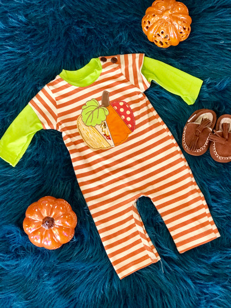 Boys N Berries By Peaches N Cream Boys Thanksgiving Romper - JEN'S KIDS BOUTIQUE