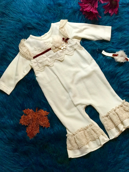 Peaches N Cream Fall Girls Fancy Ivory Romper CH - JEN'S KIDS BOUTIQUE