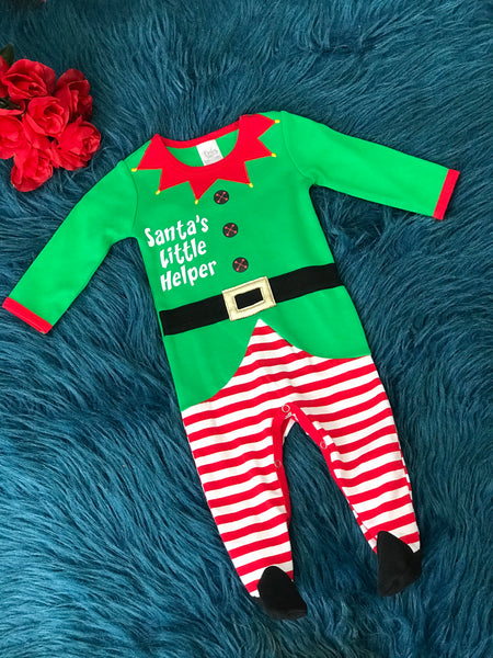 Baby Ganz Santa's Little Helper Elf Infant Romper CH - JEN'S KIDS BOUTIQUE