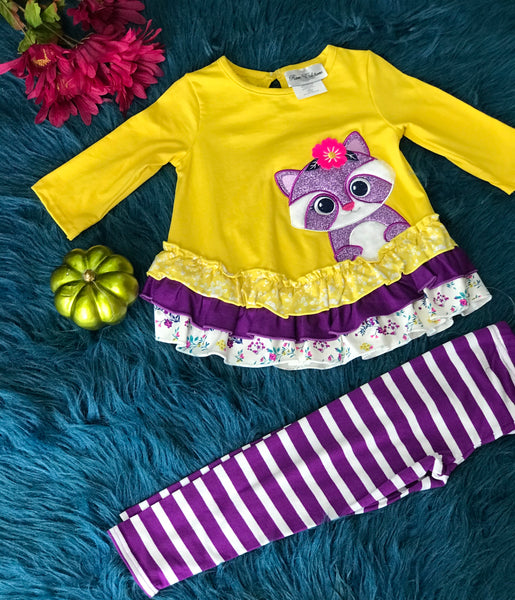 New Fall Heather Knit With Raccoon App Pant Set. - JEN'S KIDS BOUTIQUE