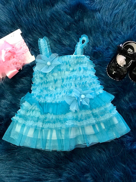 Isobella & Chloe Spring Aqua Lace Stunning Lace Dress - JEN'S KIDS BOUTIQUE