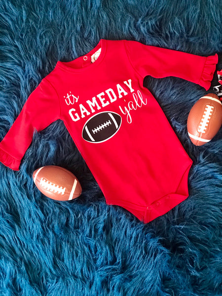 Fall Infant Girls Ruffles On Sleeve It's Game Day Yall Long Sleeve Onesie - JEN'S KIDS BOUTIQUE