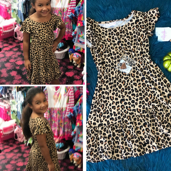New Fall Cotton Cheetah Print Dress W/hair ties - JEN'S KIDS BOUTIQUE