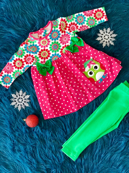 Molly & Millie Christmas Holiday Infant Owl Set cl - JEN'S KIDS BOUTIQUE