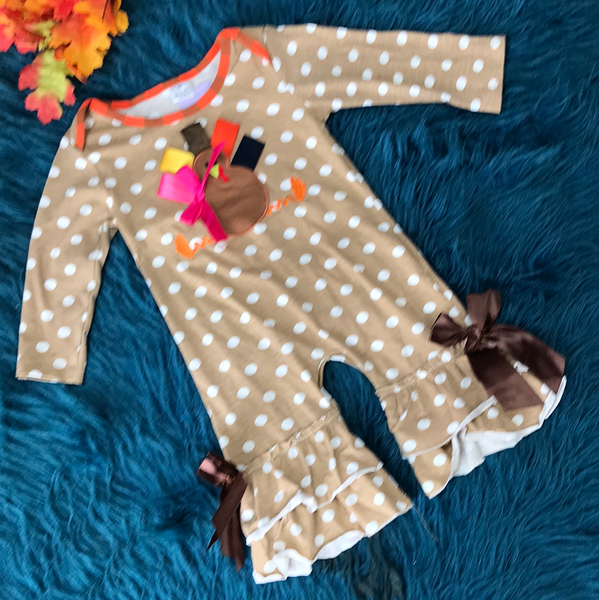 Fall Thanksgiving Colorful Turkey Infant Cotton Romper TH - JEN'S KIDS BOUTIQUE