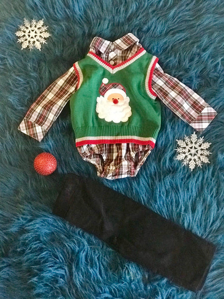 2018 Christmas Boys Green Santa Sweater Pant Set