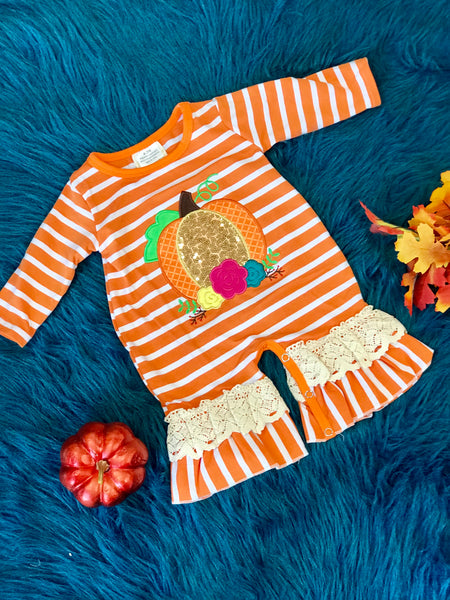 Fall Sparkle Pumpkin Stripped Ruffle Girls Thanksgiving Romper - JEN'S KIDS BOUTIQUE