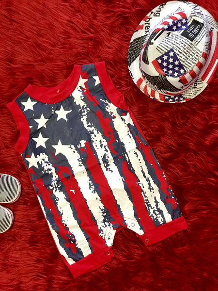 Summer 4th Of July Boys Red White & Blue Boys Romper - JEN'S KIDS BOUTIQUE