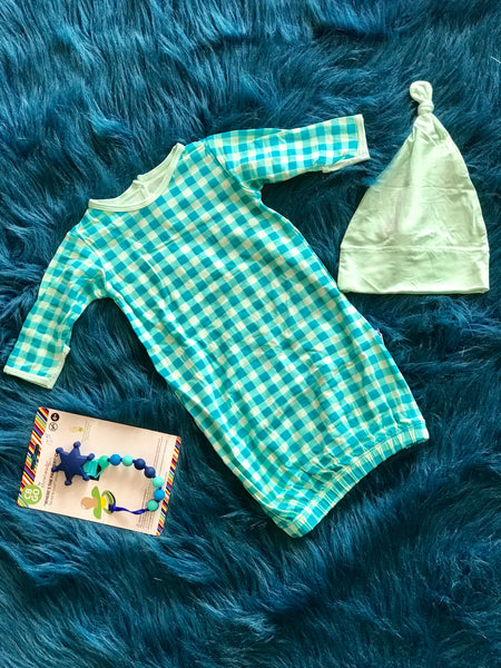 2018 Pistachio Gingham Layette Gown & Single Knot Hat Set - JEN'S KIDS BOUTIQUE