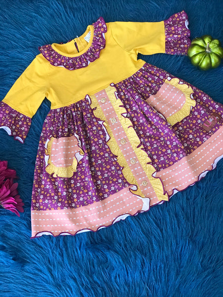 Millie Jay New Fall Plumb Crazy W Pockets Dress - JEN'S KIDS BOUTIQUE