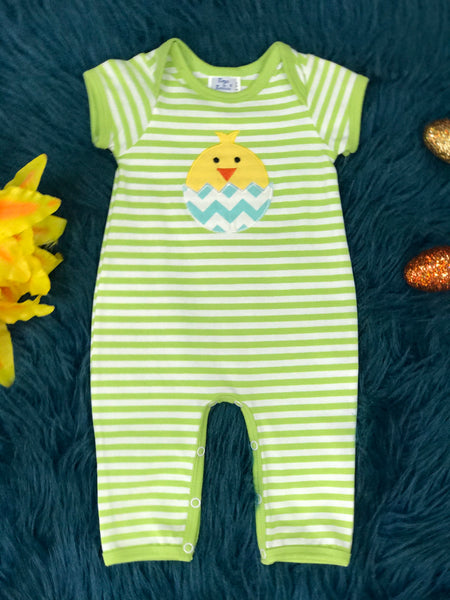 Boys & Berries Green Stripped Chick In A Egg Romper C - JEN'S KIDS BOUTIQUE