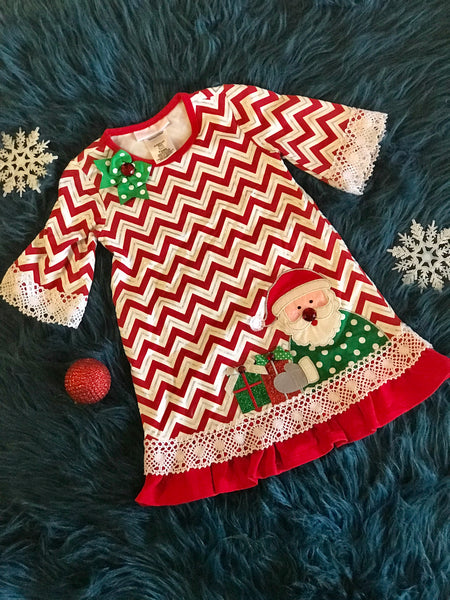 Christmas Chevron Santa Dress CH - JEN'S KIDS BOUTIQUE