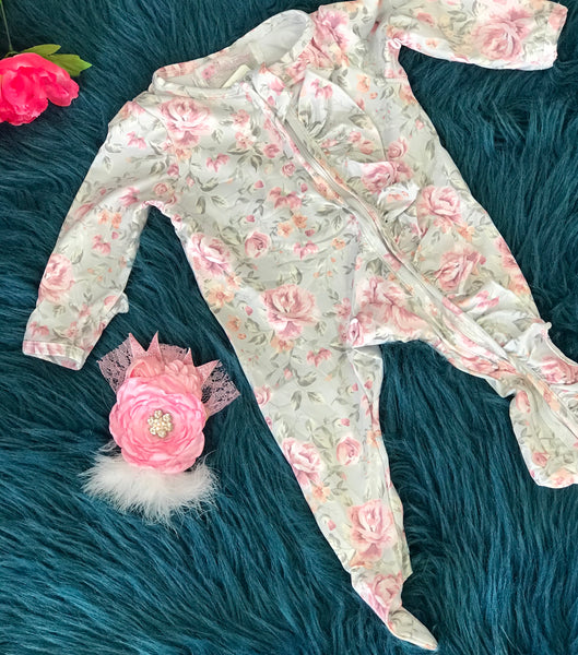 Clover Cottage Pink Floral Footie Onesie - JEN'S KIDS BOUTIQUE