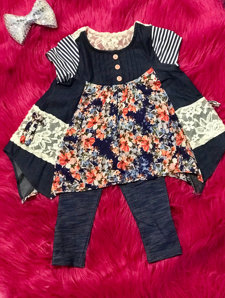 Spring Adorable Navy Floral Pant Set - JEN'S KIDS BOUTIQUE