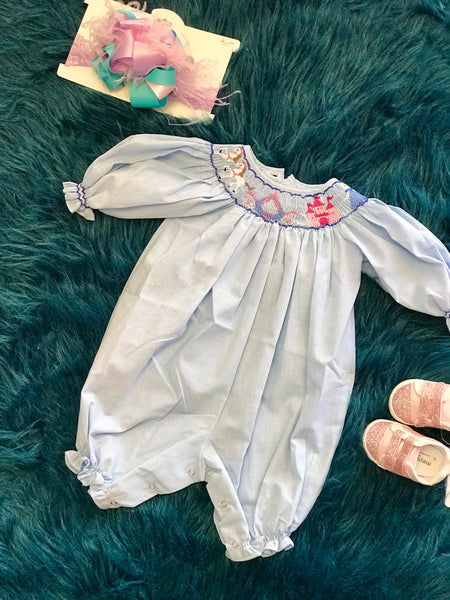 2018 Fall Infant Blue Princess Romper - JEN'S KIDS BOUTIQUE
