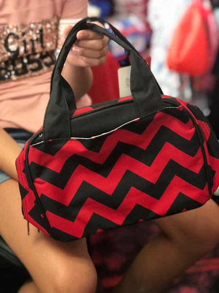 Chevon Red & Black Print Insulated Lunch Bag - JEN'S KIDS BOUTIQUE