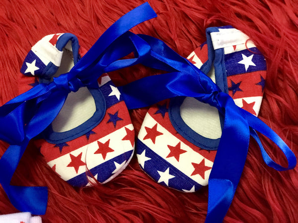 Summer 4th Of July Infant Baby Ribbon Crib Shoes - JEN'S KIDS BOUTIQUE