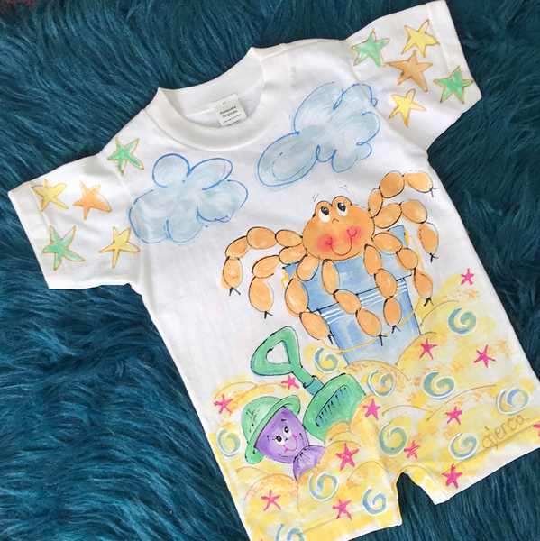 Crab on The Beach Painted Romper CLS