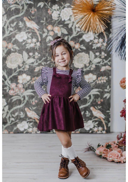 New Fall Girls Stunning Plumb Pinafore Dress - JEN'S KIDS BOUTIQUE
