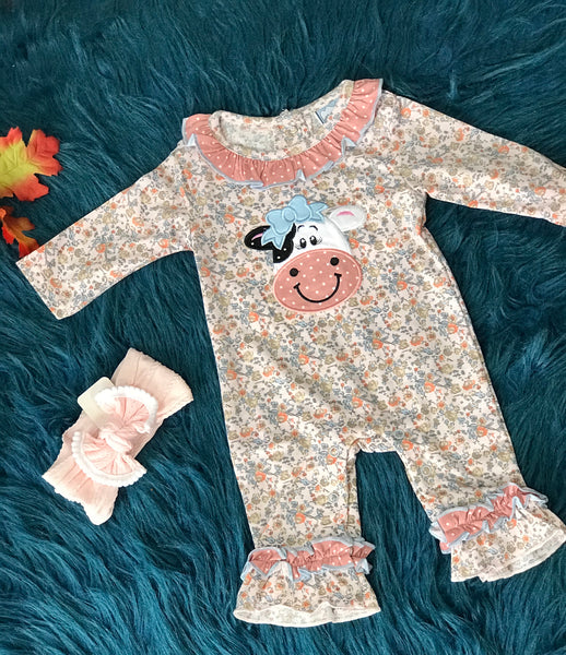 Three Sisters New Fall Moo Cow Girls Applica Romper - JEN'S KIDS BOUTIQUE