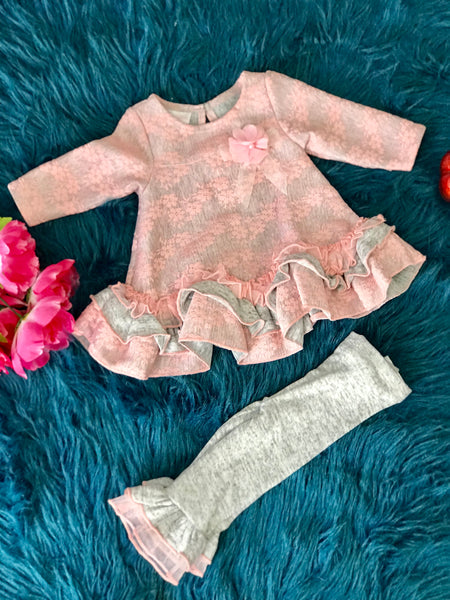 Beautiful Fall Bonnie Jean Pink & Gay Lace Pant Set - JEN'S KIDS BOUTIQUE