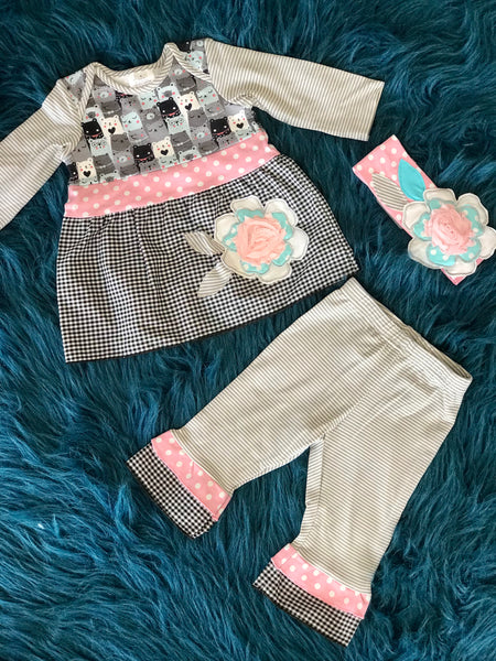 2018 Roki & Zoi By ZaZa Couture Adorable Gray & Pink Bear Pant Set - JEN'S KIDS BOUTIQUE