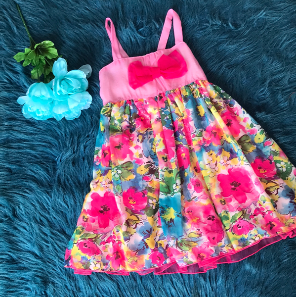 Pink Floral Dress w/ Pink Bow Front & Blue Bow Back CLS - JEN'S KIDS BOUTIQUE